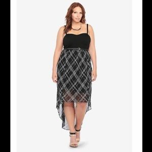 Torrid Black Plaid Flowy Hi Low Tank Dress Size 14